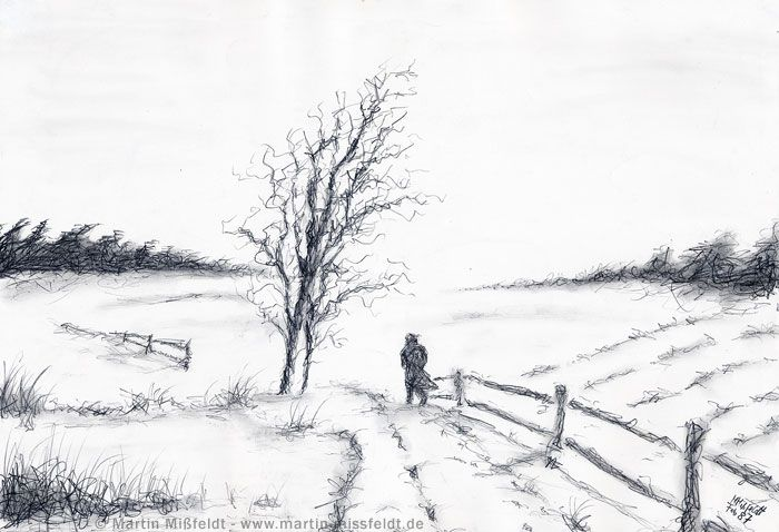 Pencil Drawings | Winter landscape - Pencil drawing