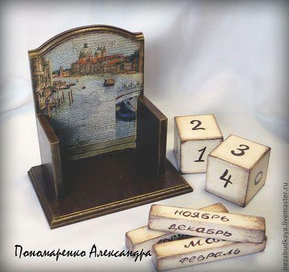 """Купить Вечный календарь """"Венеция"""" - коричневый, календарь, календарь ручной работы, вечный календарь, венеция"""