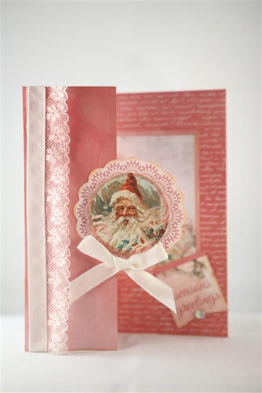 """Kaisercraft Silver Bells once again, this time the pink tones of the paper. I used the papers from the 6"""" pad for this one, and as for the previous card folded the front of the card back on itself...."""