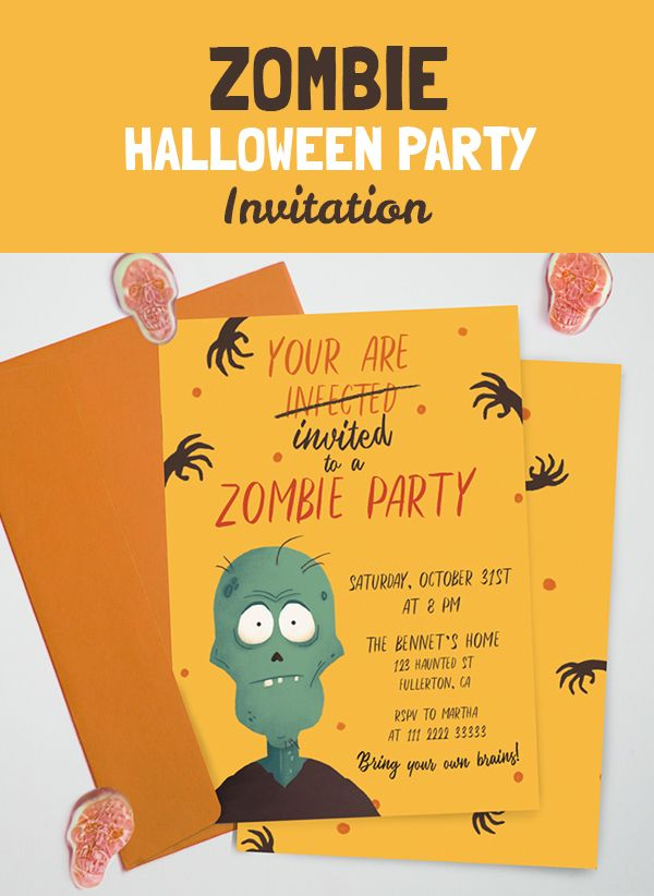 zombie party invitation personalized halloween printable invite