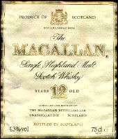 The Macallan whisky bottle, The Macallan Whisky label.