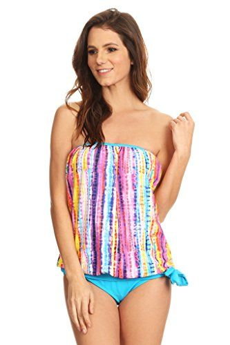 Dippin' Daisy's Multi Boho Bandeau Blouson Tie Tankini Size 14   Special Offer: $34.99      444 Reviews Bandeau blouson tie tankini set with sewn-in bra cups. Banded hemline with tie for adjustability. Conceals flowing midsection.Padded tankini top with sewn-in bra cups provides...