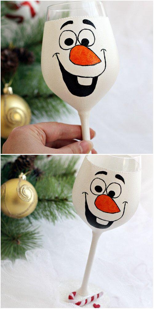 Christmas wine glass Holiday wine glass Snowman christmas ornament Christmas…