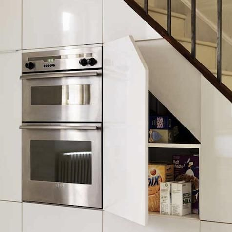 Under Stairs Kitchen Storage storage understairs kitchen this slim sleek yet functionally complete kitchen is an awesome innovative use of space its aesthetically Storage Kitchens Under The Stairs