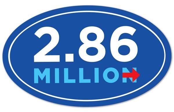 2.86 million sticker. Hillary Clinton won popular vote by 2.86 million votes. Majority bumper sticker. Simple majority.