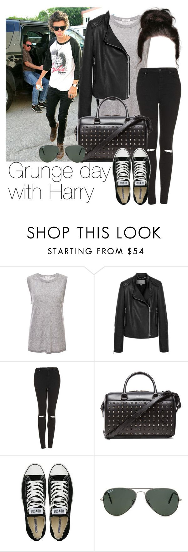 """""""REQUESTED: Grunge day with Harry"""" by style-with-one-direction ❤ liked on Polyvore featuring 6397, Mulberry, Topshop, Yves Saint Laurent, Converse, Ray-Ban, OneDirection, harrystyles, 1d and harry styles one direction 1d"""