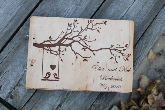 Wedding guest book Personalized name wood guest book by Vyroby
