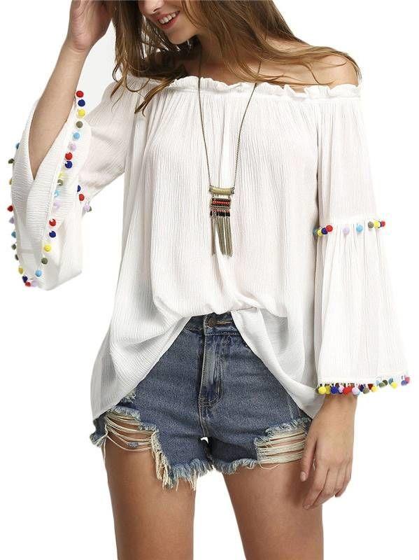 Blusa Ombro a Ombro com Pompons - Compre Online