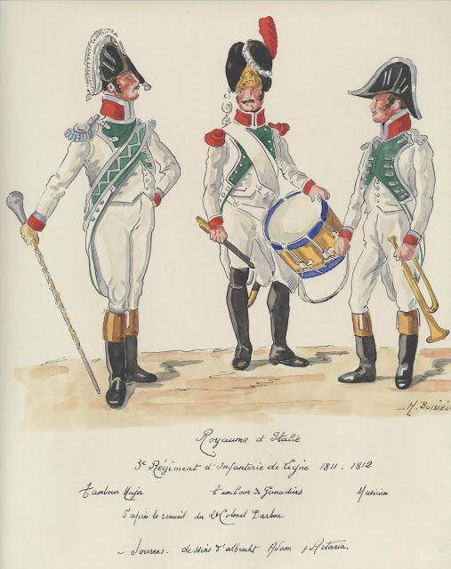 Tamburo maggiore, tamburo e musicante del 3 rgt. di linea del regno d'Italia