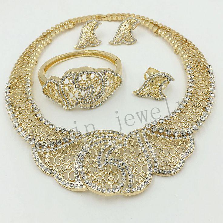 Дубай Африки Свадебные украшения Из Золота 18 К позолоченные высокого класса женские украшения из бисера красивый кристалл дизайн классический романтический подарок купить на AliExpress