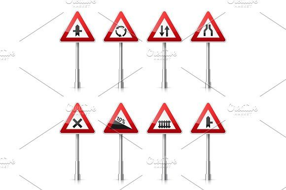 Road signs collection isolated on white background. Road traffic control.Lane usage.Stop and yield. Regulatory signs. by 32pixels on @creativemarket