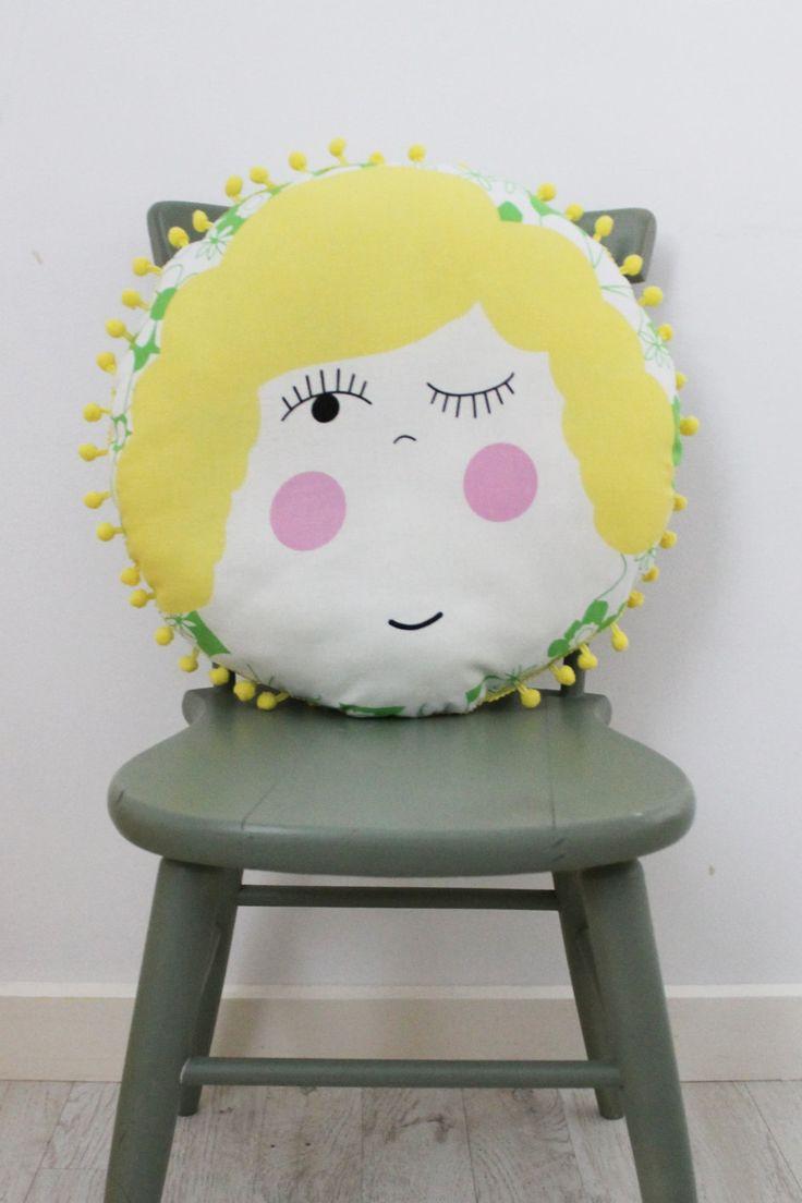 Mavis Circular Cushion with Pom Pom Trim by HullabalooKids on Etsy