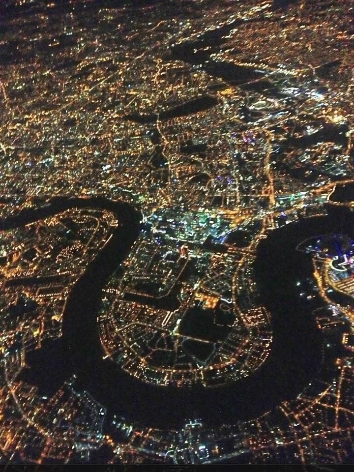 The Isle of Dogs from a helicopter of th Metropolitan Police