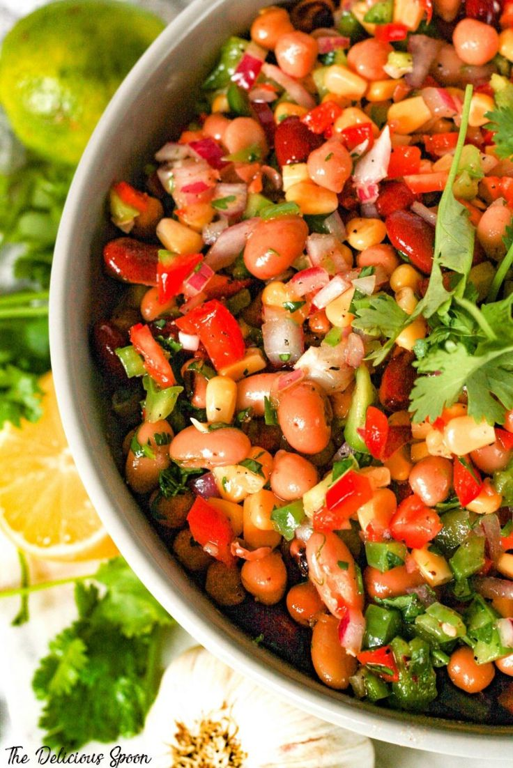 Mexican Bean Salad – A Perfect Side or Dish For Any Potluck – The Delicious Spoo…