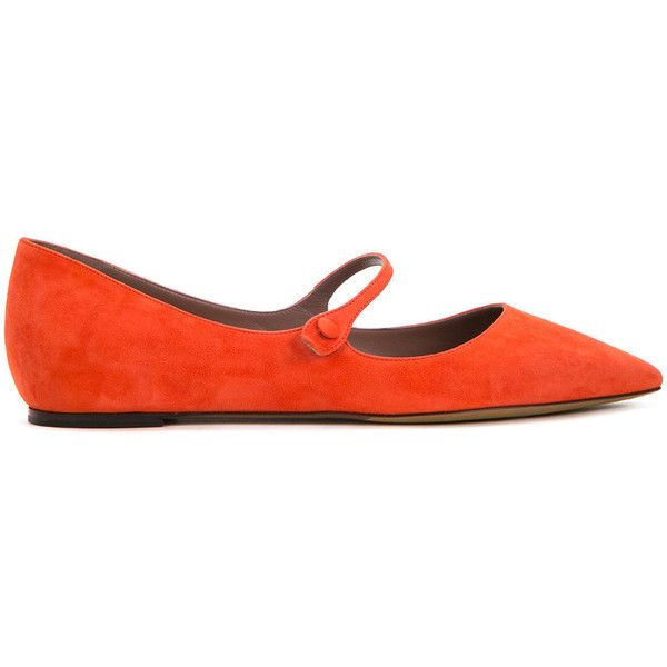 Tabitha Simmons Hermione ballerinas ($410) ❤ liked on Polyvore featuring shoes, flats, orange, orange shoes, ballet flats, suede ballerina flats, ballerina shoes and ballerina flats