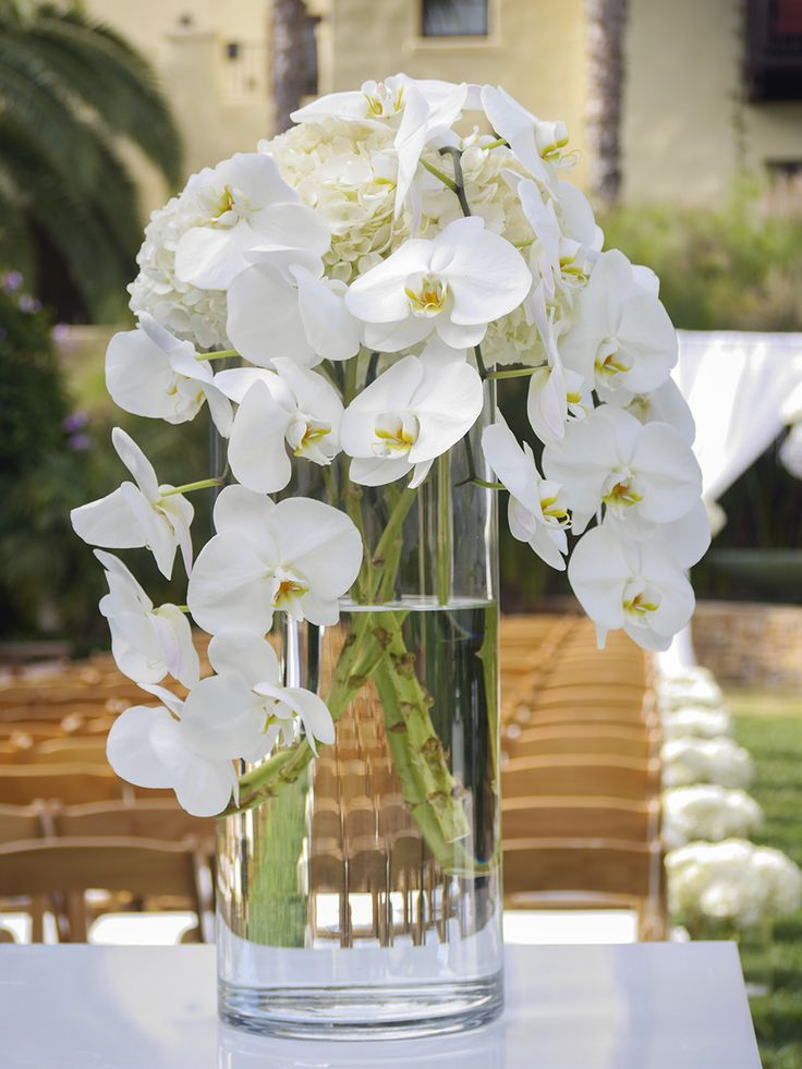 Ceremony Entrance Arrangement Orchids And Hydrangea Tall