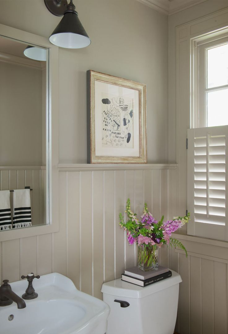 Wainscot solutions inc custom assembled wainscoting - Cottage Powder Room Features Upper Walls Painted Taupe And Lower Walls Clad In Taupe Beadboard Lined With A Pedestal Sink Fitted With An Oil Rubbed Bronze