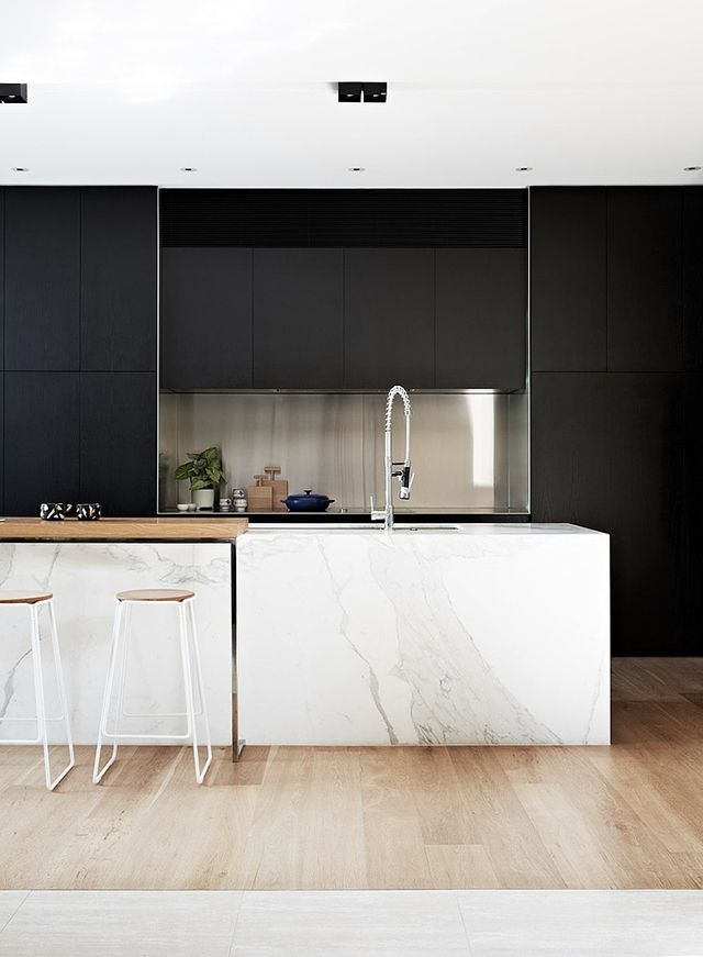 The Design Chaser: Black Kitchens | Six Picks // Kitchen - mono - wood - counter top - marble - tap