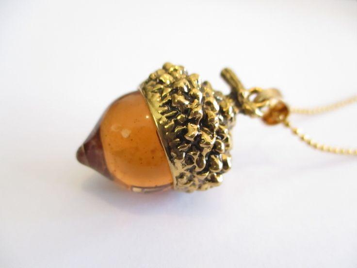 Gold Acorn Pendant