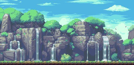 Pixel Waterfall BG. by ~iSohei on deviantART