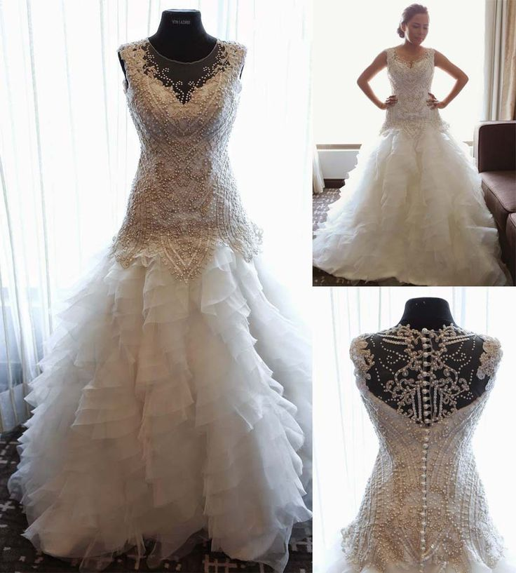 Гламурная платье-линии совок рукавов бисером само кот кружева с оборками многоуровневое винтаж свадебное платье Vestido де Noiva 2014 MF383