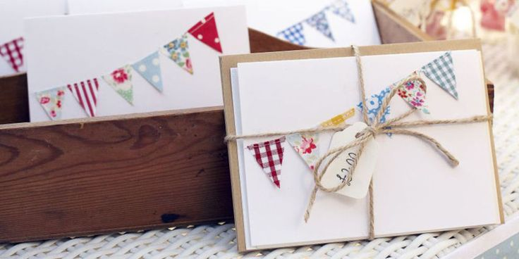Make a pretty pack of handmade cards with beautiful bunting detailing. Find more easy craft projects over on prima.co.uk