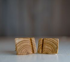Side Lines Wood Cuff Links www.ashesandkings.com