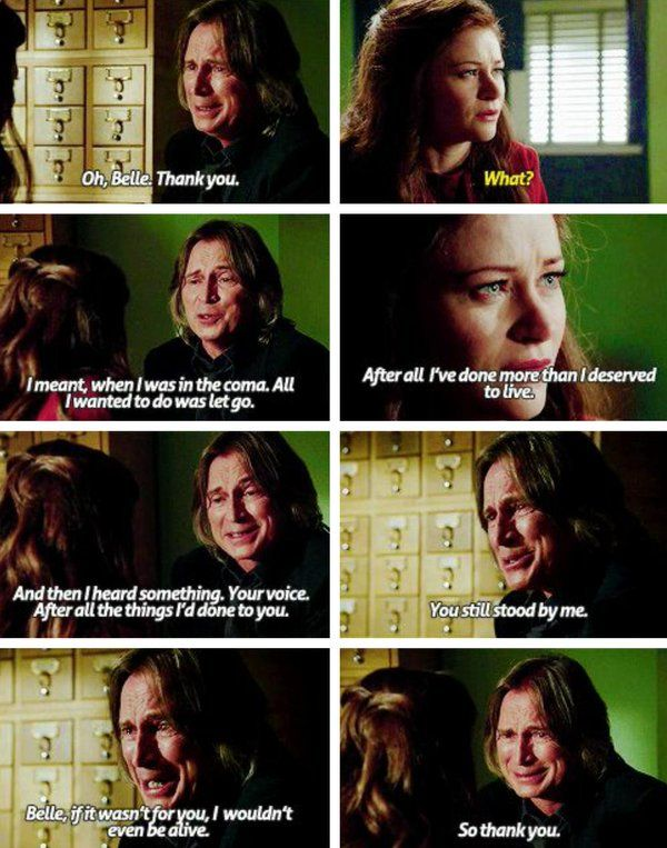 """You still stood by me. Belle, if it wasn't for you, I wouldn't even be alive"" - Rumple and Belle #OnceUponATime"