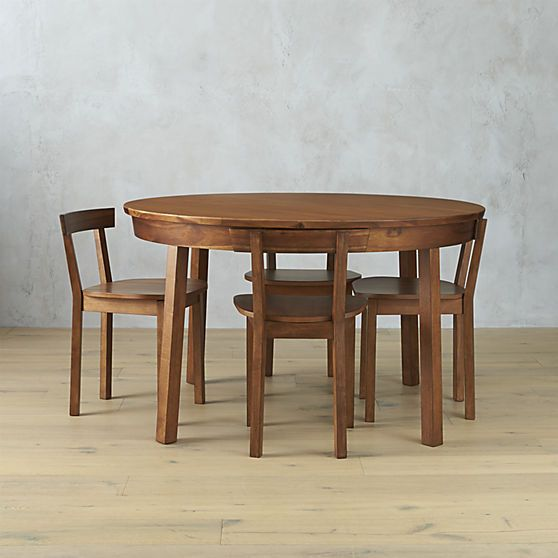 cb2 5-piece claremont acacia wood dining set with integrated chairs (inspired by hans wegner's 3-leg table and heart chairs)