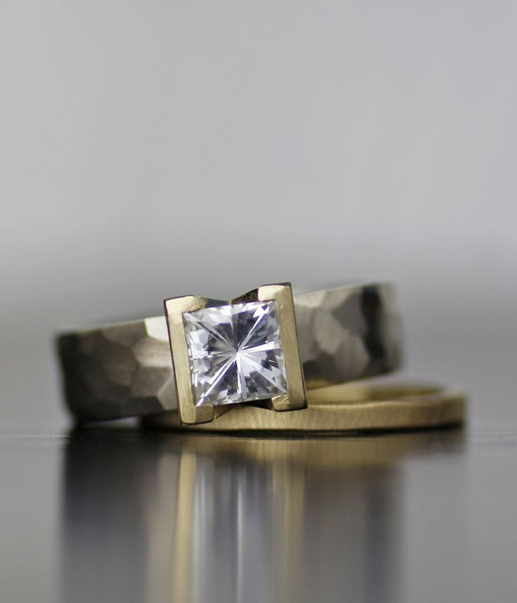 lodestar moissanite or white sapphire, palladium and gold engagement ring. Handmade from recycled metal and conflict free stones: www.lolide.com