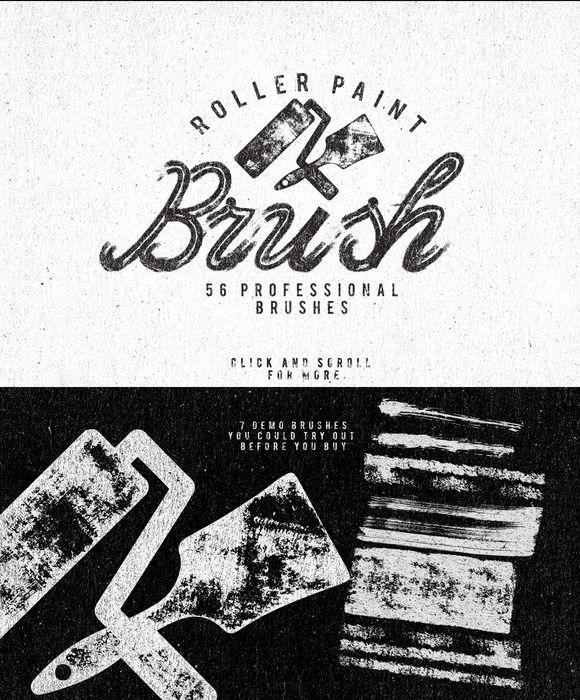 Roller Paint Brush + Bonus by Leonard Posavec. 56 brushes for Illustrator.