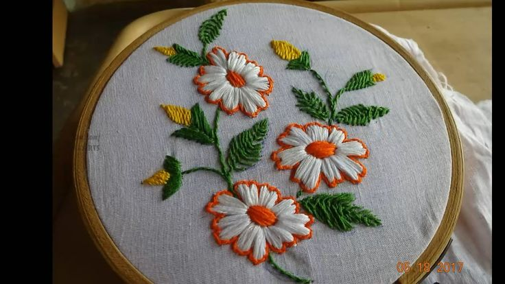 Hand Embroidery Flower Design Satin Stitch by Amma Arts