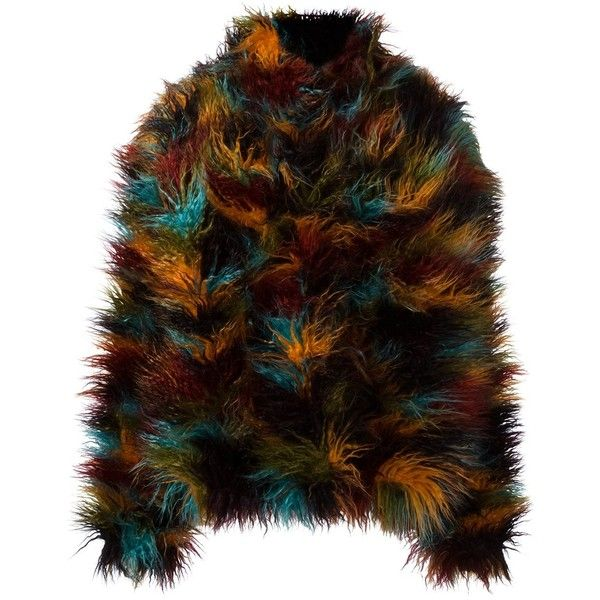 Michel Klein faux fur jacket ($618) ❤ liked on Polyvore featuring outerwear, jackets, multicolor, multi colored jacket, fake fur jacket, colorful jackets, brown jacket and faux fur jacket