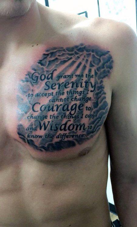 Heaven Clouds Serenity Prayer Male Upper Chest Tattoos