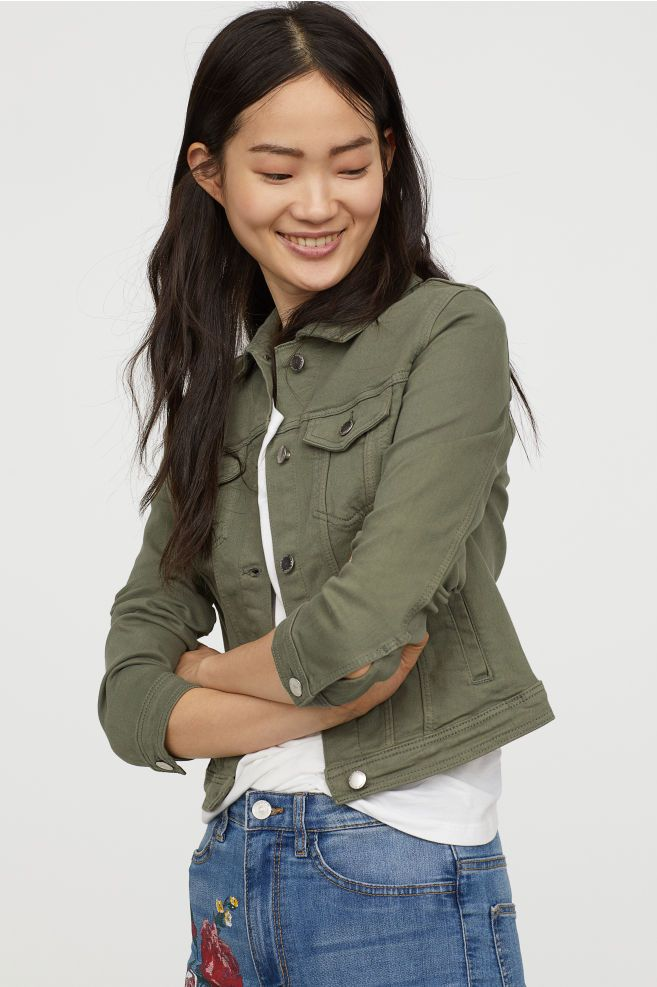 Denim Jacket Khaki Green Ladies H M Ca Olive Green Jacket Outfits Womens Cropped Jacket Jackets