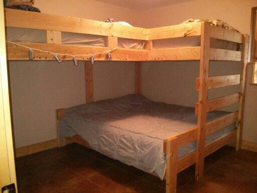 Cabin bunk bed king size bed on bottom 2 full size beds for King size bunk bed