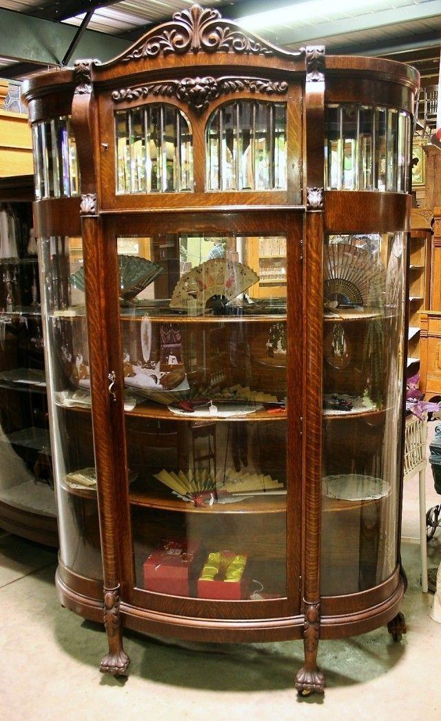 Antique Quartersawn Oak Leaded Beveled Curved Glass Lionhead China Cabinet Claws   eBay