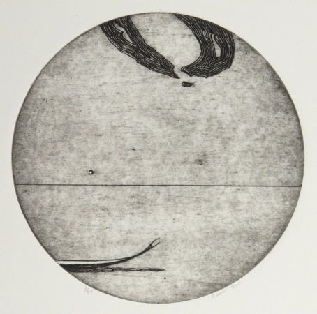 Simon Kaan, <i>Untitled Series 11- Circle I</i>, intaglio woodcut (framed) on 280 x 250 mm paper, from an edition of 20, 2011. NZ$650 incl GST.