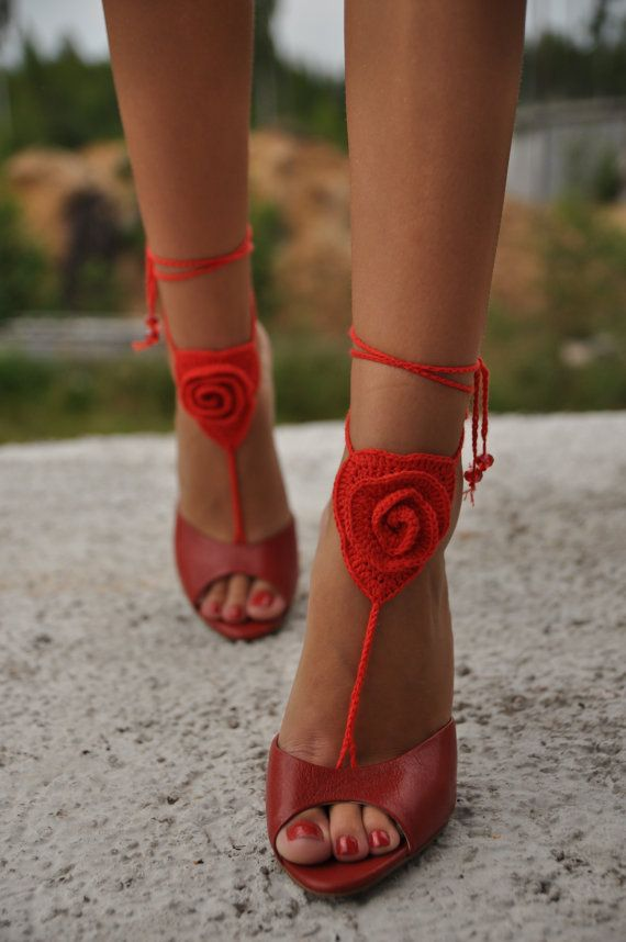 Crochet Barefoot Sandals Red rose Beach Pool Wear SEXY by barmine