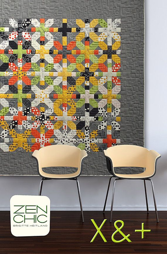 Zen Chic  X and Plus Quilt  Modern Quilting by PinkDoorFabrics, $11.95