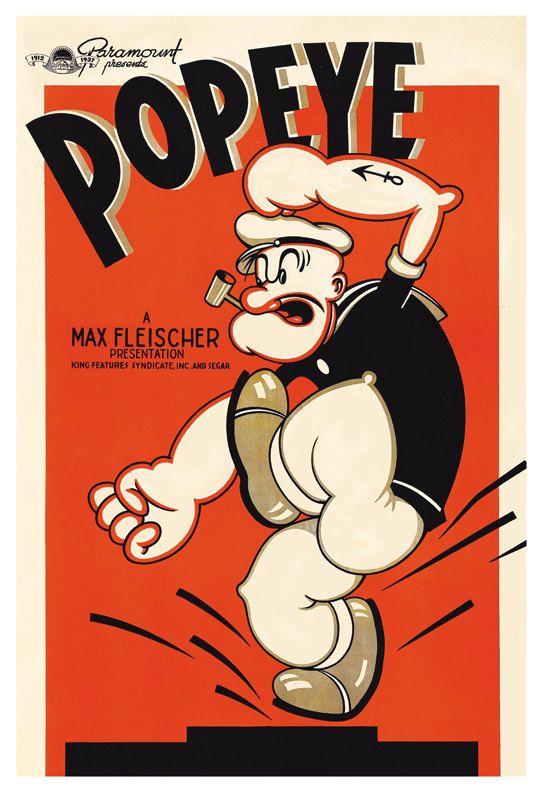 Popeye Cartoon Poster Print  13x19 - Vintage Movie Poster - Max Fleischer Cartoon