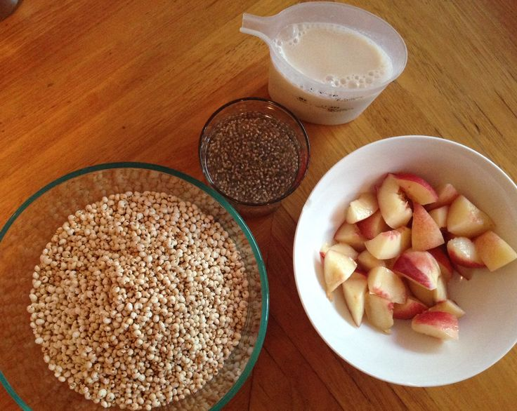 2oz Puffed millet, Fresh ginger, fresh mint (funky chopped and underneath millet)  8oz Organic Rice milk. 2 Small white nectarines. 2tbsp Chia seeds (soaked over night)