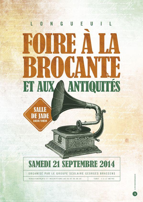 Affiche Brocante Antiquités - Le Moulin à Puces