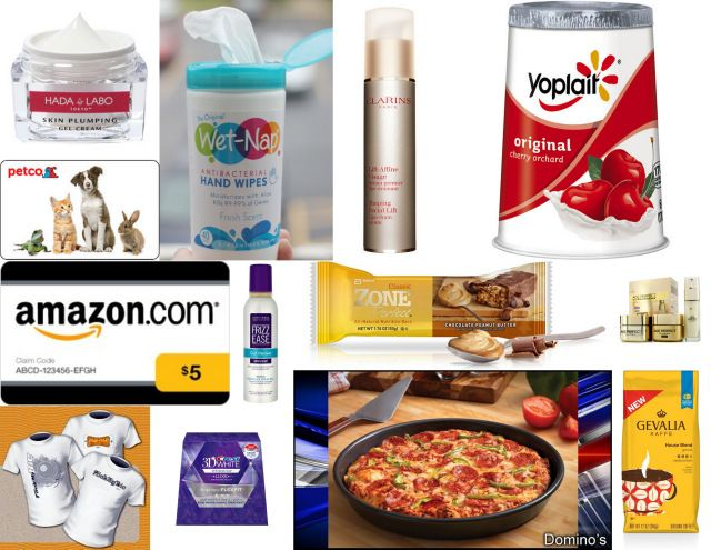"10 days worth: A med deep dish pizza from Domino's, 2 Wet Nap Wipes, $5 Amazon card, $15 Petco card, Yoplait Cherry Orchard Yogurt, Zone perfect bar (Choc Pea Butter), a ""Flick My Bic"" Tshirt, full size Frizz Ease Mousse & samples of: Hada Labo skin cream, Age Perfect (Golden Serum & Day Cream samples), 3D Crest White Strip, Gevalia Houseblend coffee and a Clarins Facial Lift sample."