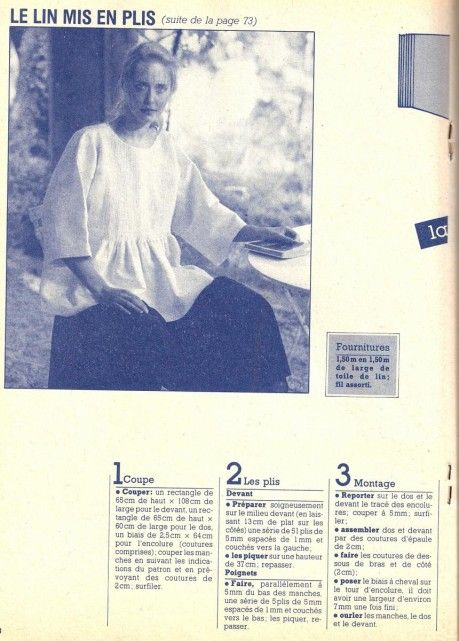 A pintucked tunic from 1983 (100 Idees).  Pattern and directions in French.