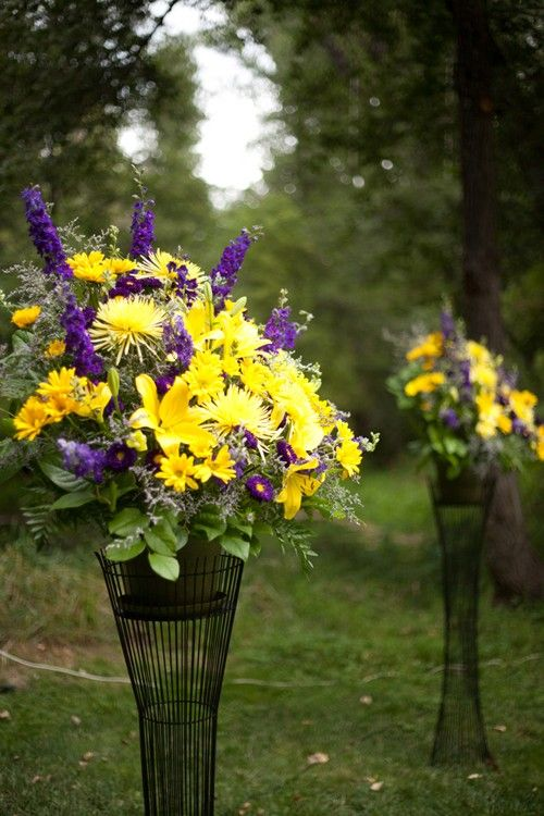 purple and yellow reception wedding flowers, wedding decor, wedding flower centerpiece, wedding flower arrangement, add pic source on comment and we will update it. www.myfloweraffair.com can create this beautiful wedding flower look.