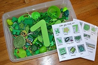 I spy game/sensory bin - better than pictures b/c 3 dimensional