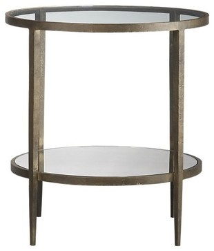 Side table 24 quot dia x 25 quot h forged metal lacquer finishtempered glass