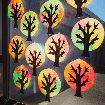 I had to share these incredibly easy fall trees that my Grade One class made! Students used eyedroppers to drip liquid water color paints onto coffee filters.  Don't be stingy with the paint as they w