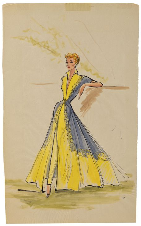 """Elois yellow gown with gray panels and yellow roses costume sketch for Lucille Ball as """"Susan Vega"""" in Forever Darling. (MGM, 1956) Original Elois Jenssen costume sketch for Lucille Ballas """"Susan Vega"""" in Forever Darling. The sketch is accomplished in ink and gouache on 11 x 18. in. artist parchment. Sketch features a yellow dress with gray overlay with yellow flower fringe, high collar and flowing skirt. Yellow slacks revealed through the front of the slit skirt."""